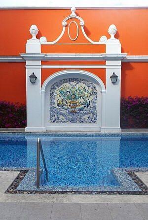 Solar de las Animas Hotel swimming pool in Tequila town, Mexico