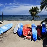 Belize travel beach and kayaks