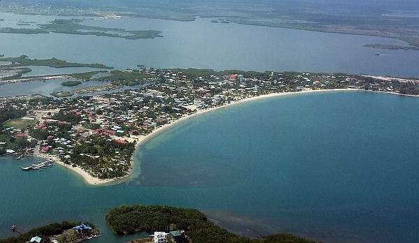 Placencia Belize from above in a plane