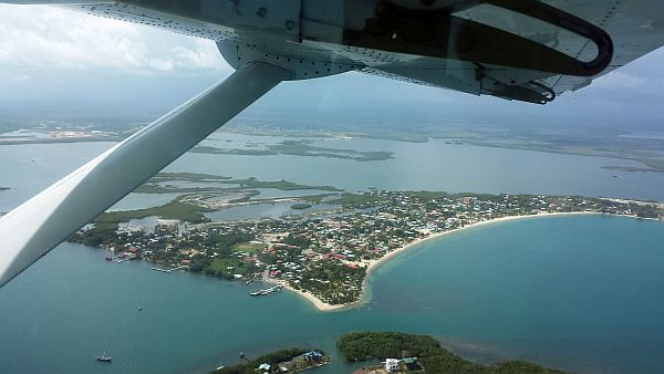 Placencia Belize from the air in a plane
