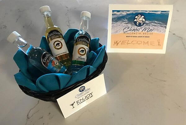 welcome rum at Placencia resort for your arrival in Belize