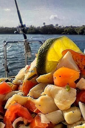 Fresh Ceviche on a private luxury yacht charter exploring the islands of Belize.