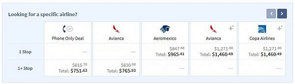 business class fares to Panama City Central America