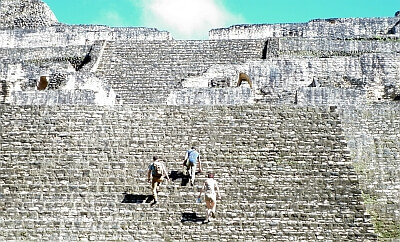 Scrambling up Caracol, Mayan ruins in Belize. photo by Lydia Carey, Luxury Latin America blog.