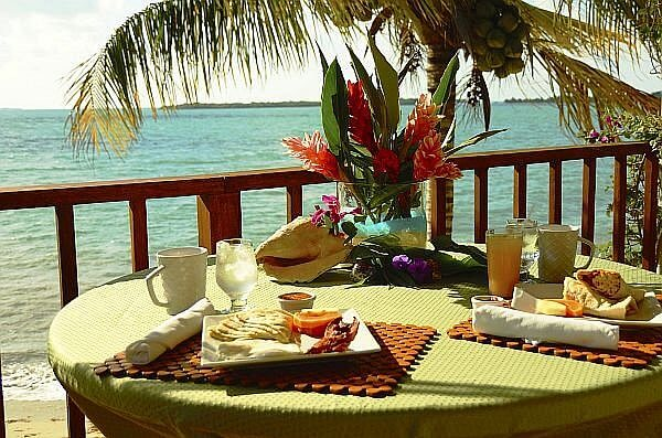waterfront dining by the beach in Placencia