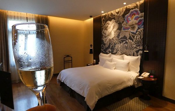 Country Club Lima hotel suite with champagne