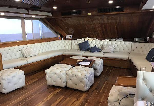 Living room on Ecoventura small ship Galapagos tour
