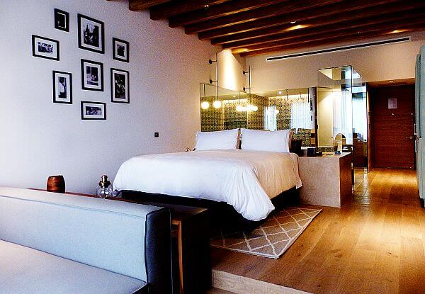 Bedroom at the Live Aqua Urban Resort Hotel in central Mexico
