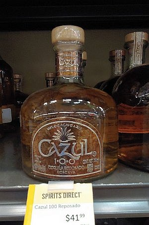 Cazul 100 reposado tequila from Jalisco on the shelf in the USA.
