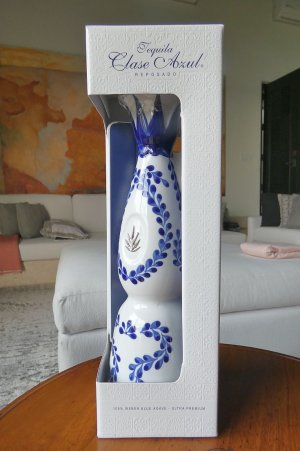 tequila in hand-painted pottery bottle