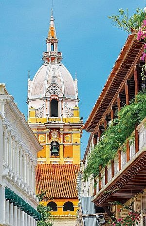 The walled Spanish Colonial city of Cartagena on the coast of Colombia