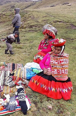 Weaver women of Peru on the Lares adventure tour in the Andes Mountains flanking the Sacred Valley