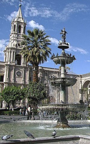 The city of Arequipa in Peru is worth a visit, especially its gorgeous central plaza