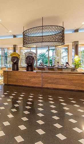 Lobby of the Conrad Cartagena golf and beach resort in Colombia