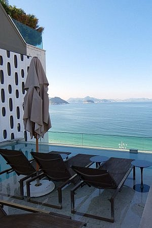 Rooftop deck and pool at Emiliano Hotel Rio de Janeiro on Copacabana Beach