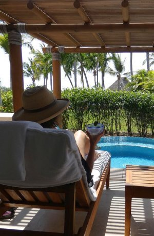 relaxing with a margarita at Four Seasons north of Puerto Vallarta