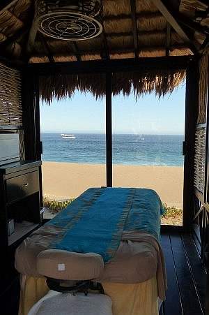 Grand Solmar massage table in the oceanside spa, where the waves crash nearby