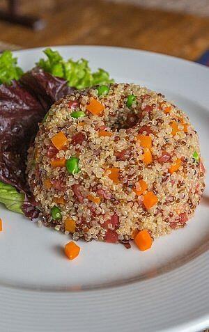 Quinoa dish at Isla Suasi Hotel on a private island in Lake Titicaca, Peru