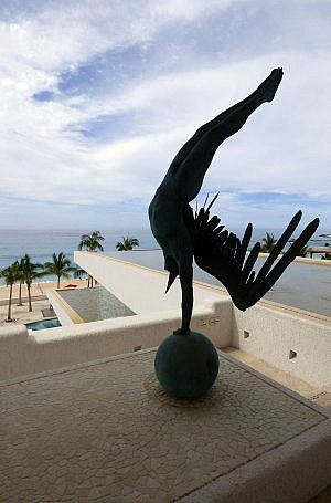 Lobby sculpture at Marquis Los Cabos adult all-inclusive luxury resort and spa