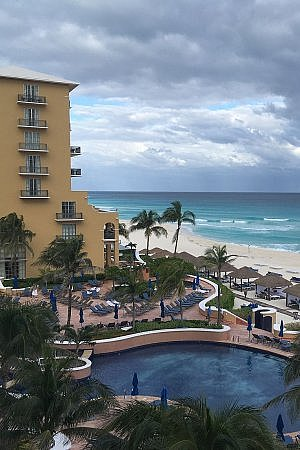 Ritz-Carlton Cancun pool and beach on the Caribbean Sea in Mexico