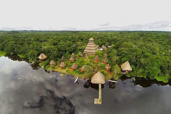 Sky view of the Napo Wildlife Reserve jungle lodge