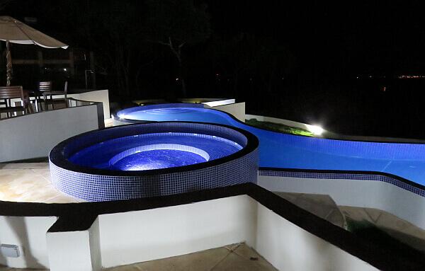 Pacaya Lodge pool at night