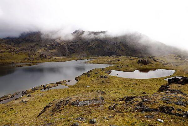 lagoon seen on a Peru hike in the Andes Mountains