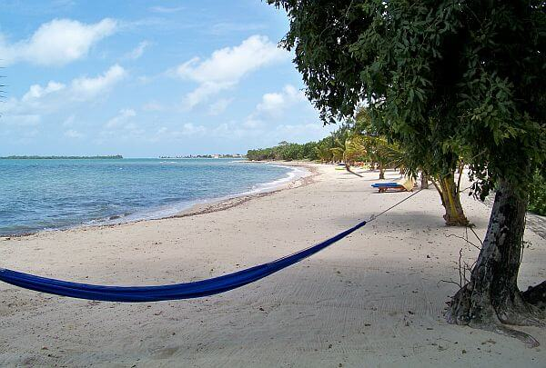 Placencia Belize beach with hammock