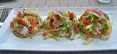 First course: smoked swordfish tostadas