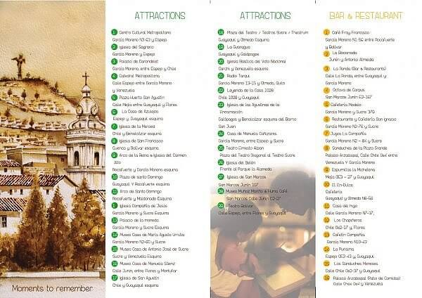 back of Quito attractions infographic