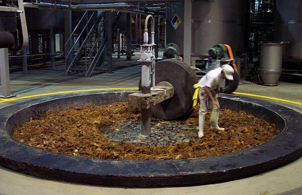 tezon tequila wheel at Tezon distillery
