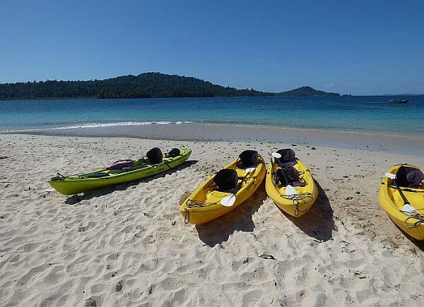 kayaks on a secret beach in Panama with an Uncruise small ship adventure